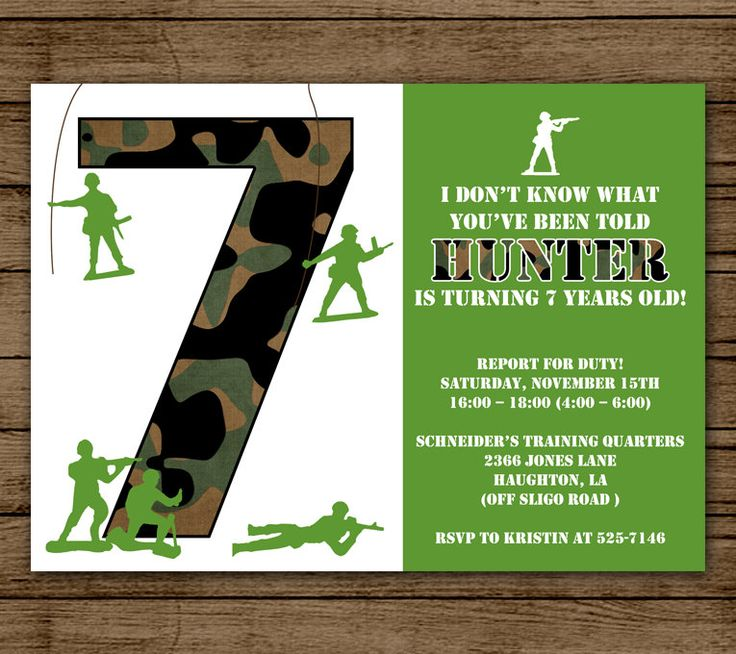 Army Birthday Invitation for Boy Party Customized
