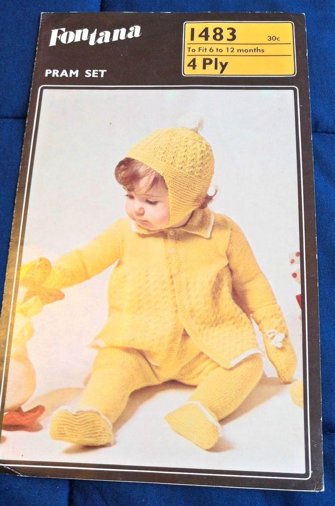 Baby Pram Set Fontana 1483 vintage knitting pattern 4 ply yarn #Fontana