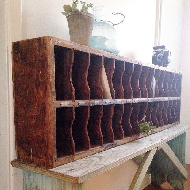 Love this vintage mail sorter as seen on @paperjar's Instagram (at) paperjar.