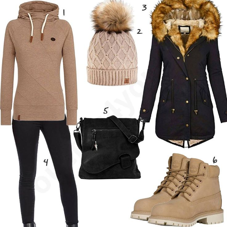 Beige brown outfit with black winter coat
