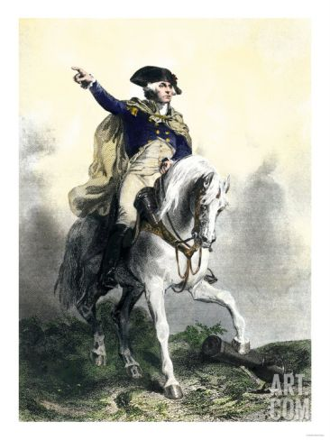 General George Washington in Battle on Horseback, Revolutionary War. Art.com