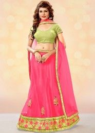 Bridal Wear Pink Net Heavy Embroidery Work Lehenga Choli