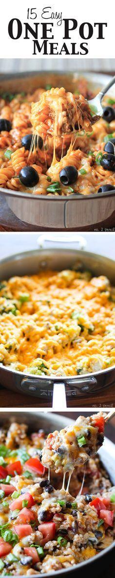 Fifteen Easy One Pot Meal Recipes [ MyGourmetCafe.com ] #dinner #recipes #gourmet
