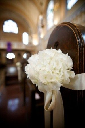 Pew Alternative--single white hydrangea stem tied on with champagne ribbon; $15 (this of course wouldn't be as re-usable but is a simple/elegant less expensive alternative to the arrangements)