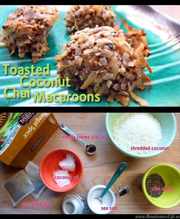 Toasted Coconut Chai Macaroons - (sugar-free, gluten-free, vegan, SCD, anti-candida & flavored with a tea bag!!!) And boy THESE ARE TASTY!!!