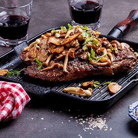 Beef steak and truffled mushrooms