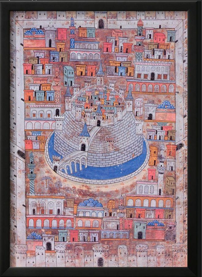 Aleppo, miniature painting by Nasuh Al-Matrakî , 16th century - Map of Aleppo, c.1600 (colour litho), Ottoman School / Private Collection / The Bridgeman Art Library