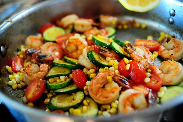 "Shrimp and veggie summer stir-fry - pioneer Woman - Review - One word: Mmmmmm! This was sooo tasty! I used basil as the herb of choice. Hubby said ""This is delicious! Make this again!!"" I will definitely keep this in rotation!"
