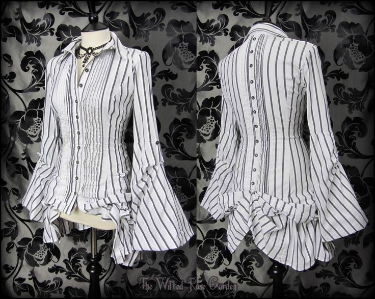 Victorian White Grey Stripe Hitch Bustle Shirt 8 10 Steampunk Poet Mistress Goth | THE WILTED ROSE GARDEN