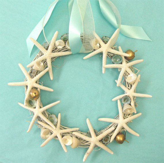 Beach Christmas Wreath with Starfish and Shells via Etsy