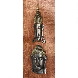 """Sukhothai and Bodh Gaya Buddhas"" Asian Wall Sculptures: Set of Two"