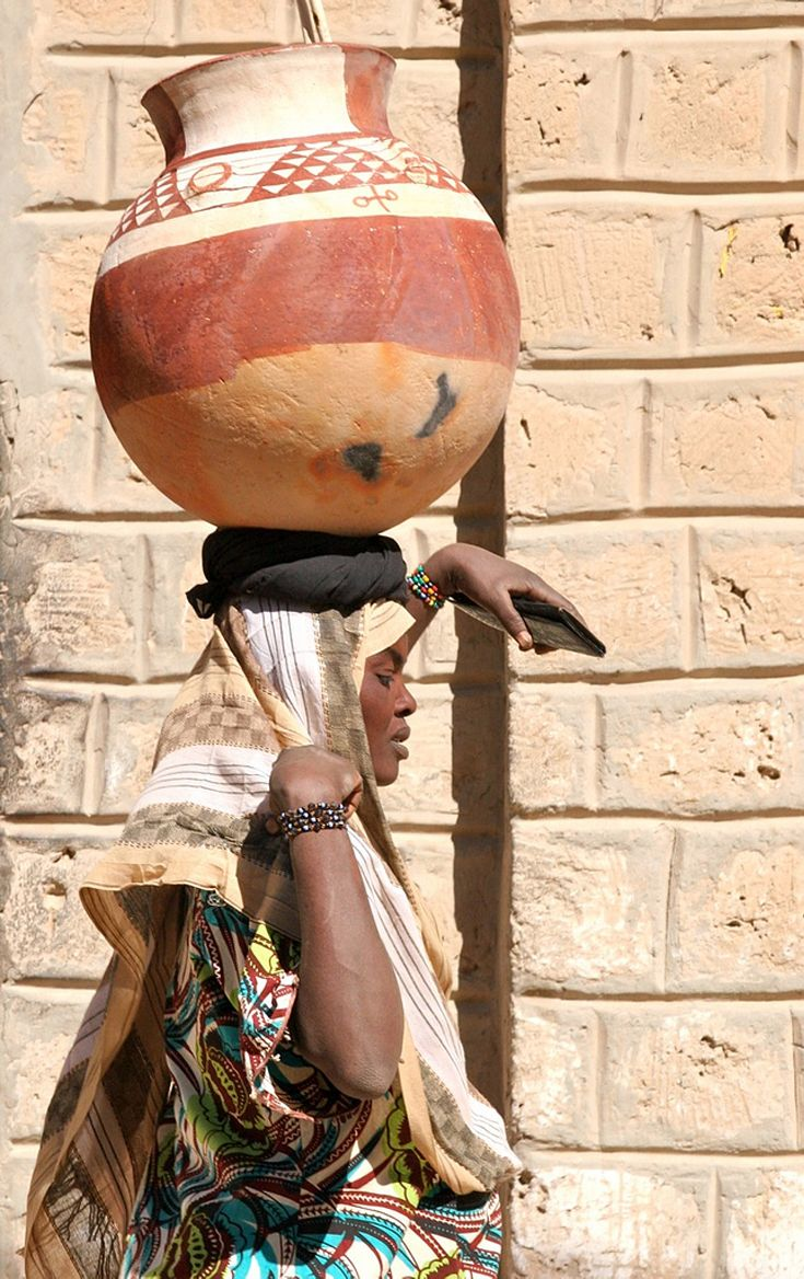 "Africa | ""On Her Head .... A Very Large Clay Pot"".  Timbuktu, Mali 