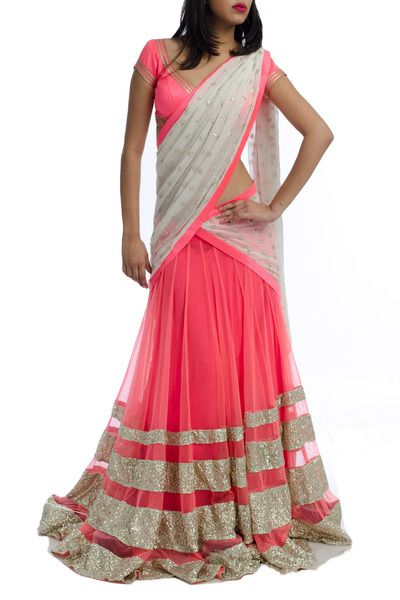 Pink, white and gold half saree