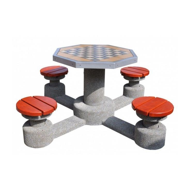 Stół do gry w szachy ośmiokątny kosze betonowe, kosze na śmieci, kosze na smieci, mała architektura miejska, http://cityarch.eu/