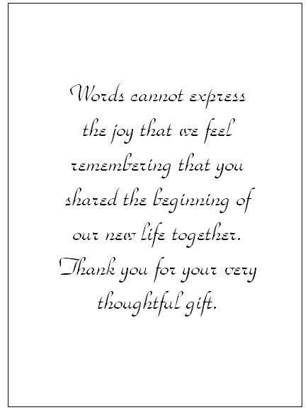 Thank You Note Wording Card Templates Wedding Notes For Monetary Gifts Invitation Sample
