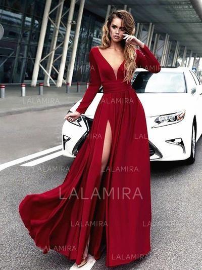be696808c06a [US$ 128.00] A-Line/Princess V-neck Floor-Length Evening Dresses With Ruffle