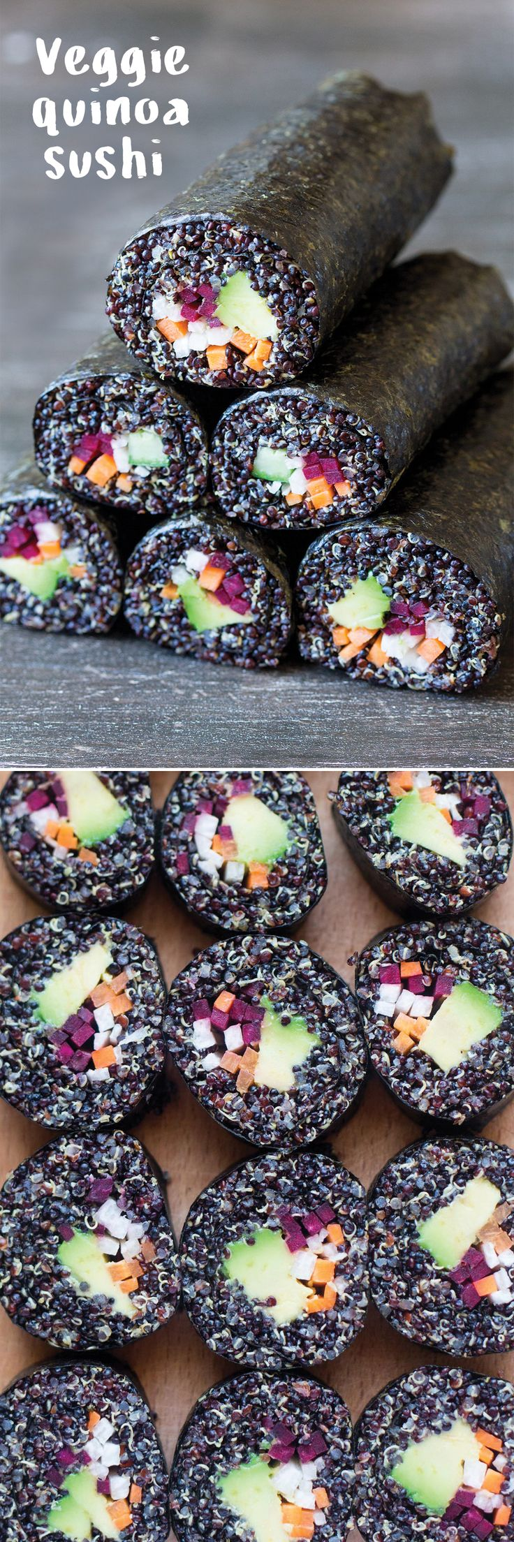 veggie quinoa sushi makes a filling yet light meal. it's perfect for a summer lunch or for a picnic!