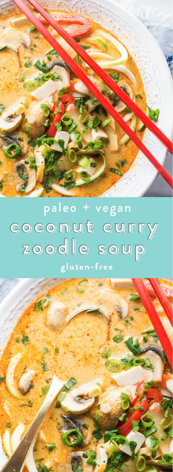 Paleo Vegan Paleo Coconut Curry Zoodle Soup #GlutenFree | 40 Aprons