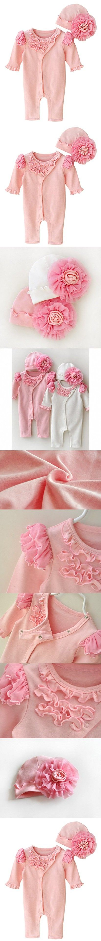 Baby Girls Cotton Ruffle Romper with Hat Infant Winter Solid Long Sleeve Snap on One Piece Footie Jumpsuit Sleeper for 0-3 Months Pink