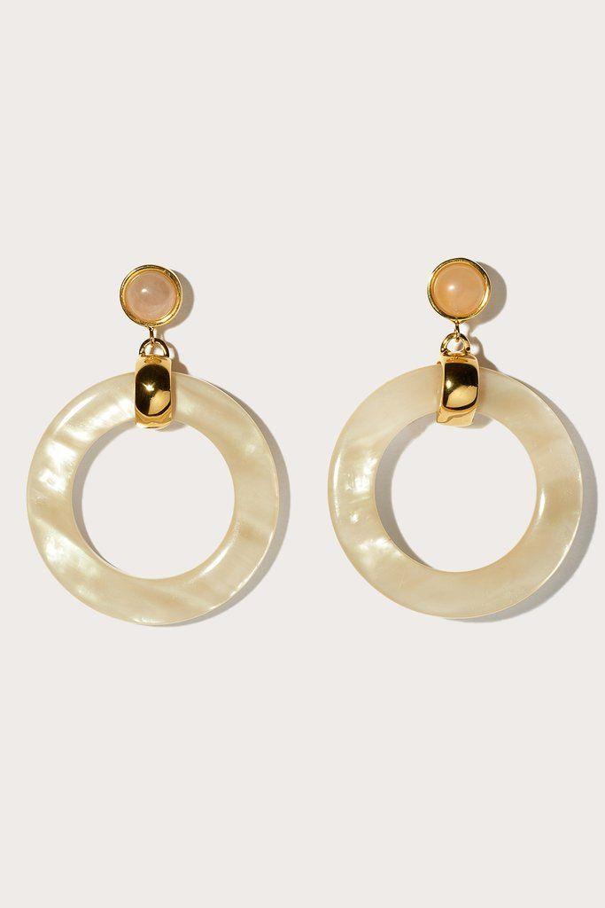 sun bleached hoops, faux pearl