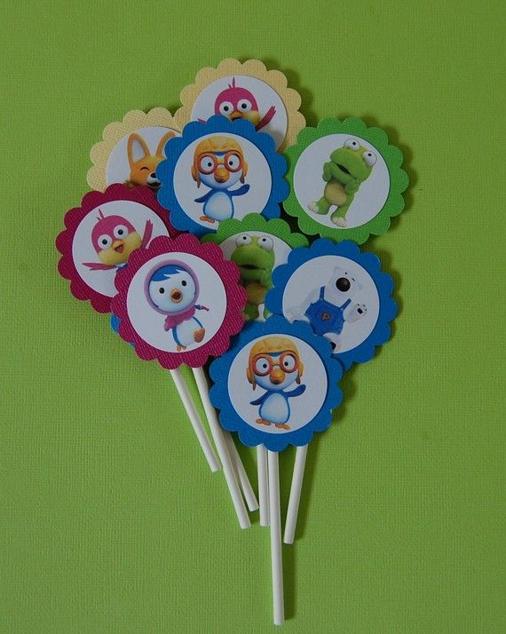 @Alissa Evans Quirk we could make these. easy. PORORO cupcake toppers by ajzdelights on Etsy