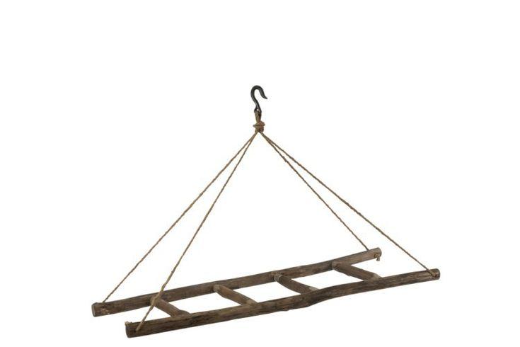 Ladder Hangend Aan Touw Van Hout Houtkleur Bruin