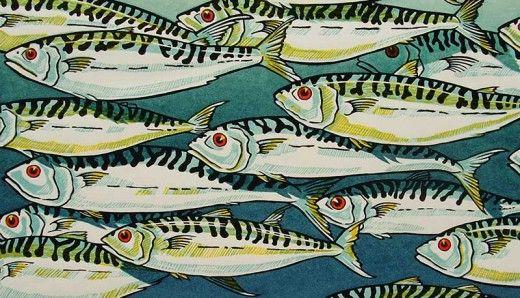 Mackerel - Lino print. www.dorsetvisualarts.org