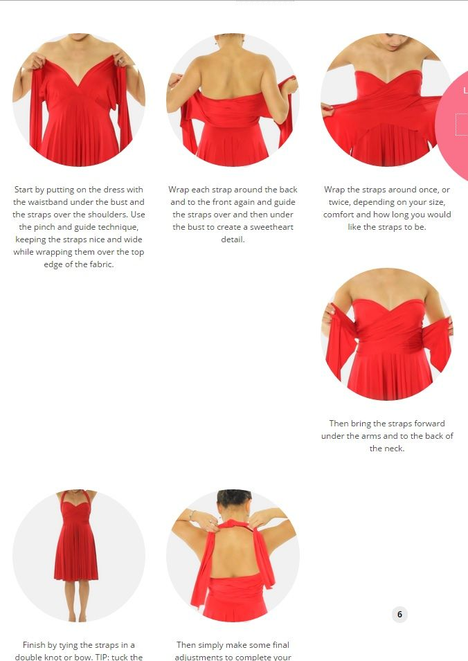 Tutorial from the convertible Henkaa dress blog: how to tie the Nancy sweetheart neckline infinity dress