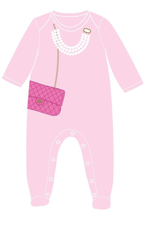 Pink Bag With Pearls Footsie by Sara Kety Baby & Kids
