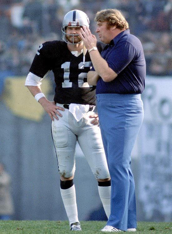 John Madden and Ken Stabler, Oakland Raiders...Two Greats From The Feared Fields Of Oakland...The Coach & His Star Quarterback!!  Both Left the Game & Continued as Leading Commentators...Madden For Decades...What A Winning Pair!!