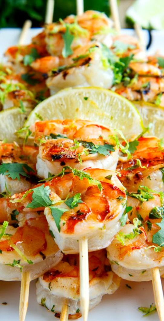 Cilantro Lime Grilled Shrimp ~ Shrimp in a tasty, light and fresh cilantro lime marinade that is grilled to perfection.