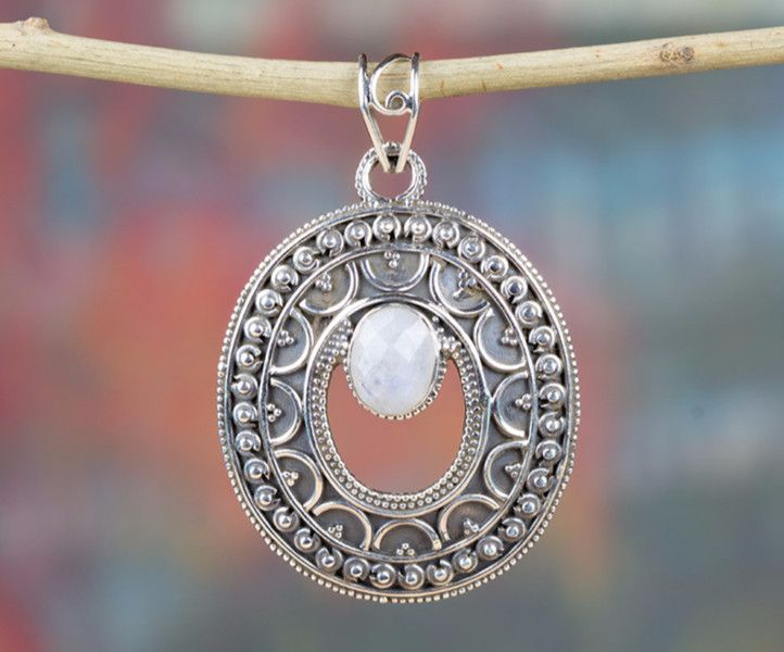 Charms –  Moonstone Pendant, 925 Silver Pendant, Antique – a unique product by Midas-Jewelry on DaWanda