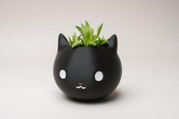 Jardinière en chat imprimée en 3D planteur de Kitty par AqC3DDesign