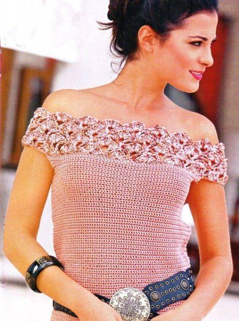 Top Escote Punto Abanico Crochet - Patrones Crochet