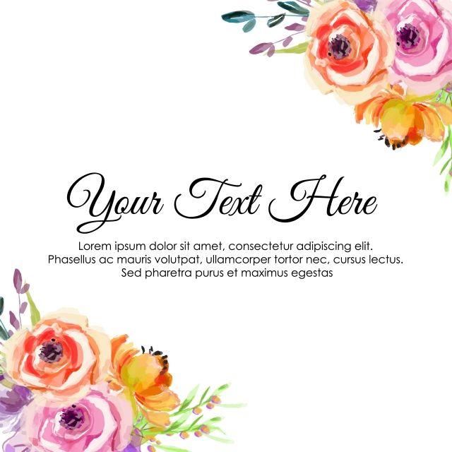 Watercolor Flowers Floral Arrangement For Square Design Wedding