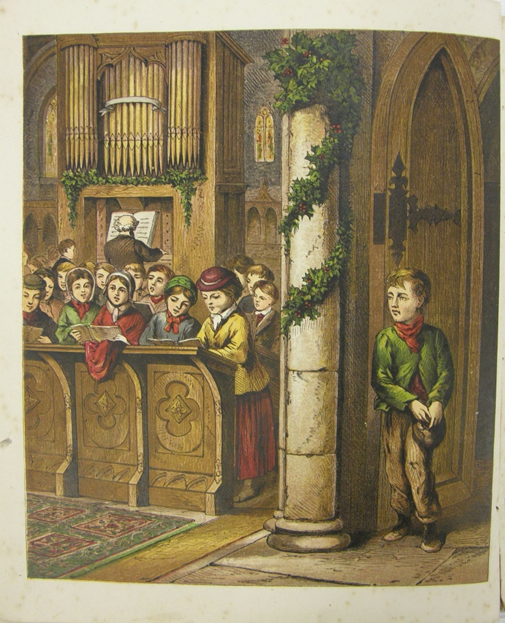 """""""The organ loudly peals, / and timidly he steals / inside the open door; / Open for rich and poor. / The anthem low and clear / Fell on his listening ear...""""    from """"Little Paul's Christmas"""" illustrated children's book published by The Religious Tract Society London.  Printer: JM Kronheim & Co from """"New Series Toy Books"""", circa 1873. Collection of Auckland Museum, col.0806.2"""