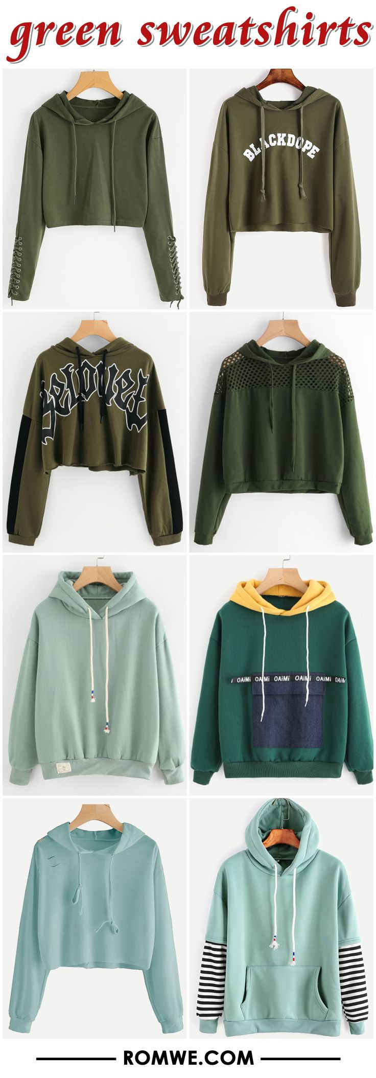 green sweatshirts 2017 - romwe.com