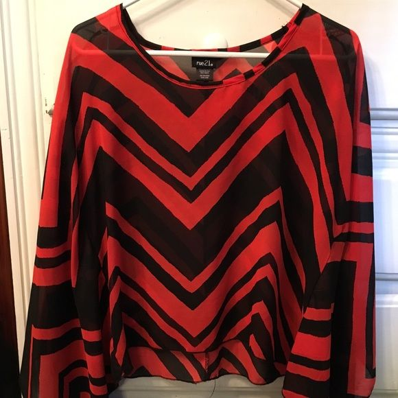 Black and Red Batwing Top Great condition Rue 21 Tops Blouses
