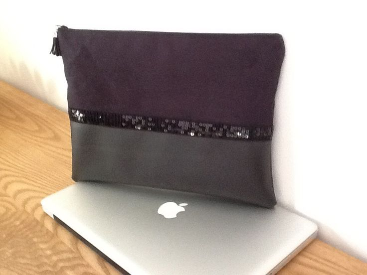 Housse pour ordinateur portable ,en suédine noire,similicuir noir Weston et paillettes noires