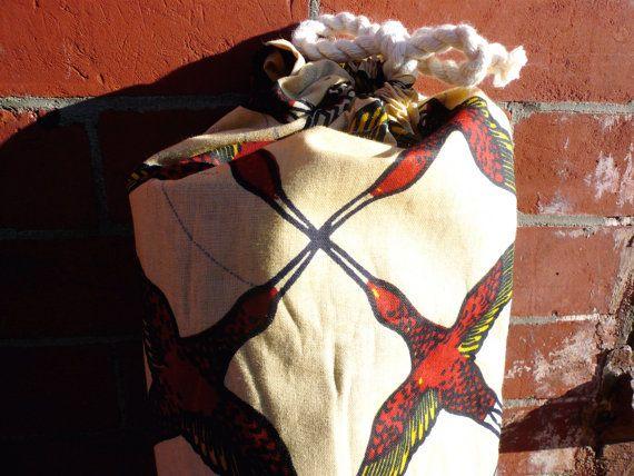 Red Birds African Wax Print Handmade Yoga Mat Bag by SuelaDesigns