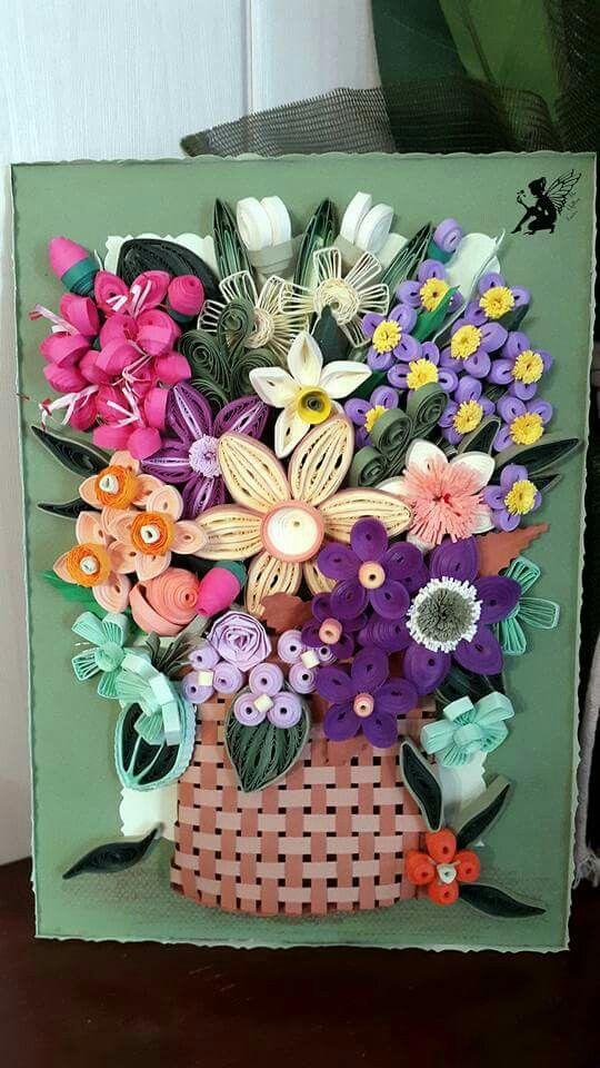 Quilled Basket with Flower Arrangement April