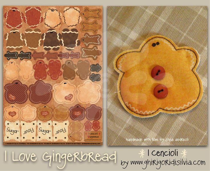 Cenciolo I LOVE GINGERBREAD by Ghirigori di Silvia di GhirigoridiSilvia su Etsy