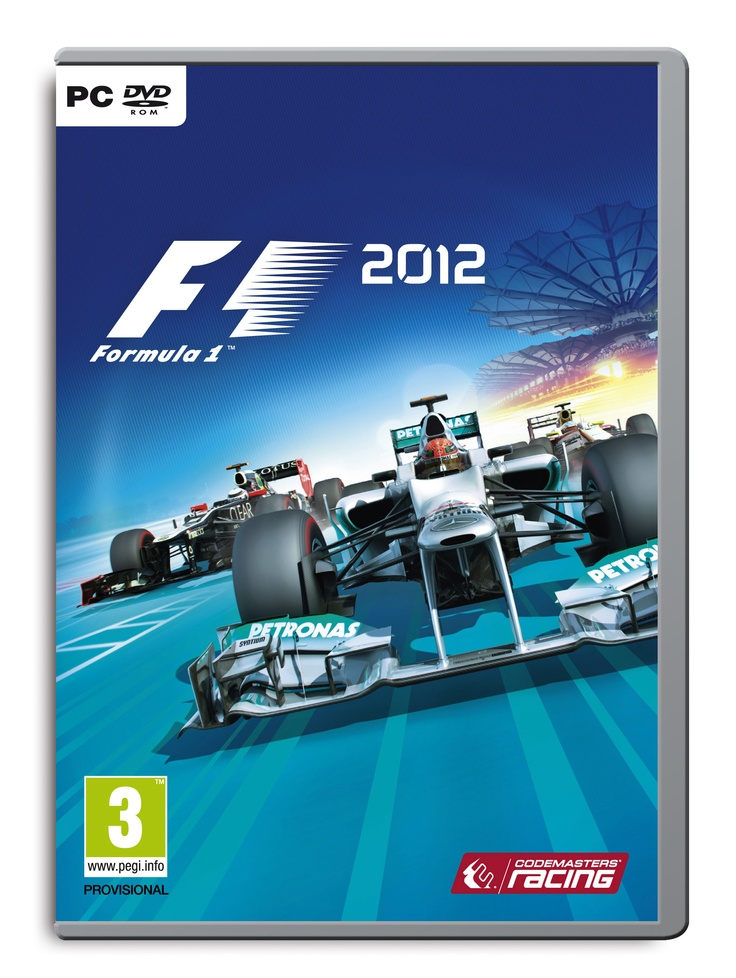 Official PC packshot of F1 2012, featuring Mercedes, Lotus-Renault, and HRT.