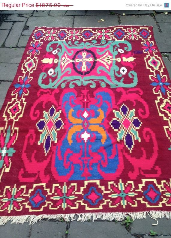 Vtg Killim Rug Vegetable Dye Neon Colored By Amyvintagetreasures 1593 75