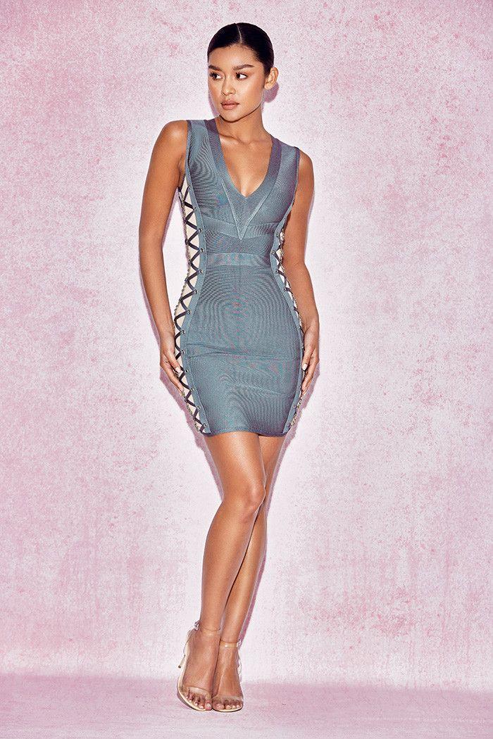 Clothing : Bandage Dresses : 'Pasqualina' Sage Green Lace Up Bandage Dress