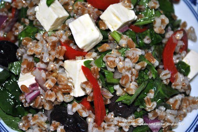 salata cu arpacas, spanac, telemea