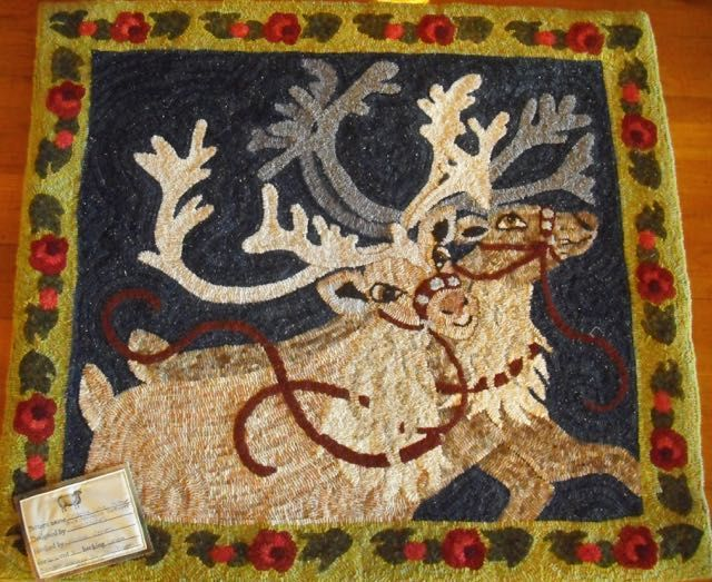 Hooked Rug Reindeer Julie Jones