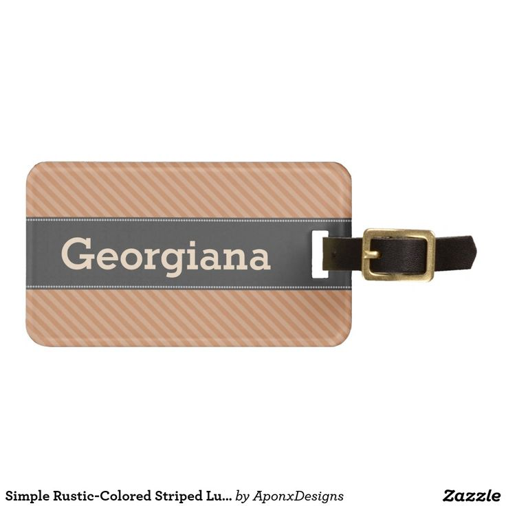 Simple Rustic-Colored Striped Luggage Tag