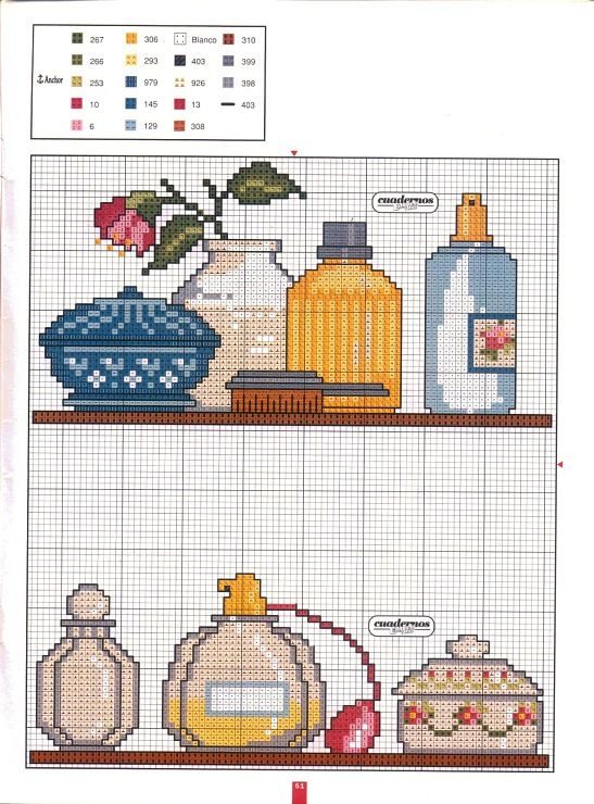 Adorable counted cross-stitch pattern for either bathroom or dressing/vanity area.