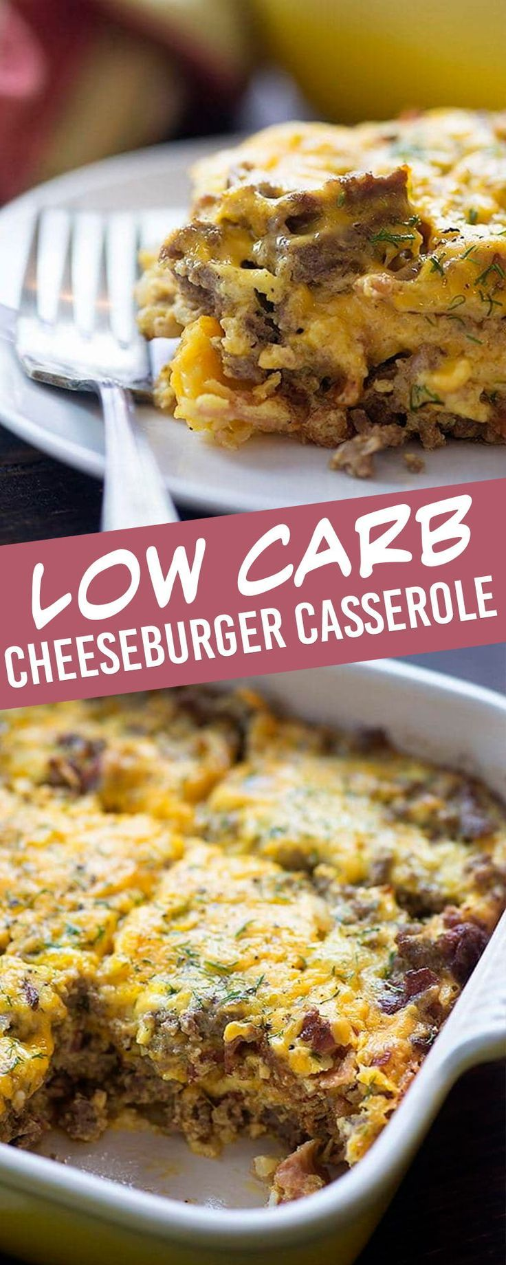 Cheeseburger Casserole A Low Carb Version Of A Family Favorite Recipe Cheeseburger Casserole Recipes Bacon Cheeseburger Casserole